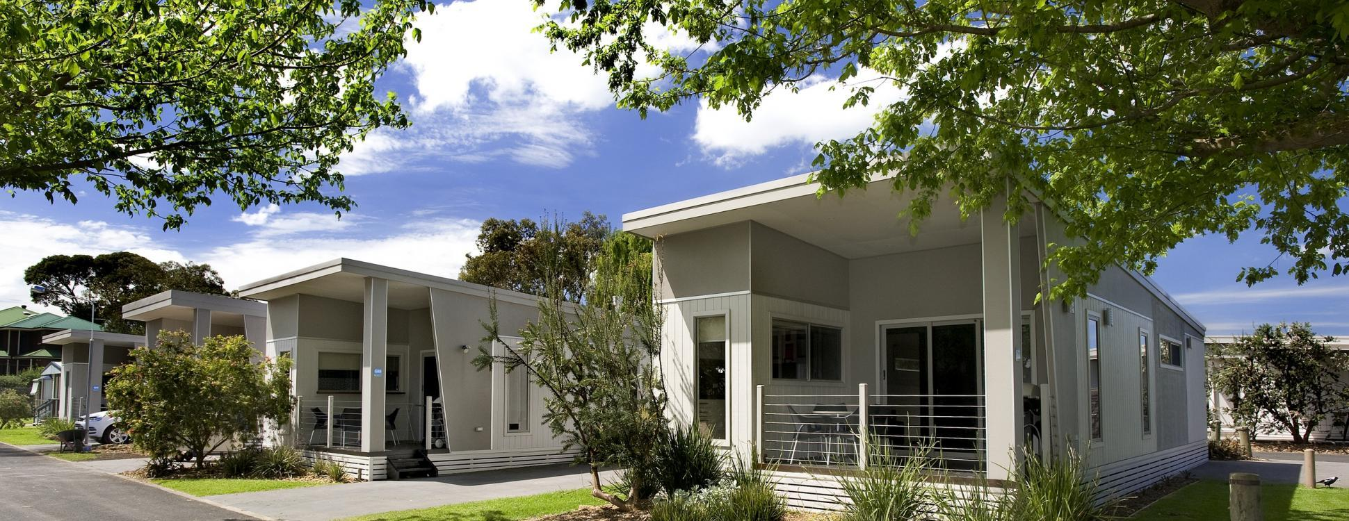 Exterior of two bedroom villa accommodation at BIG4 Beacon Resort in Queenscliff