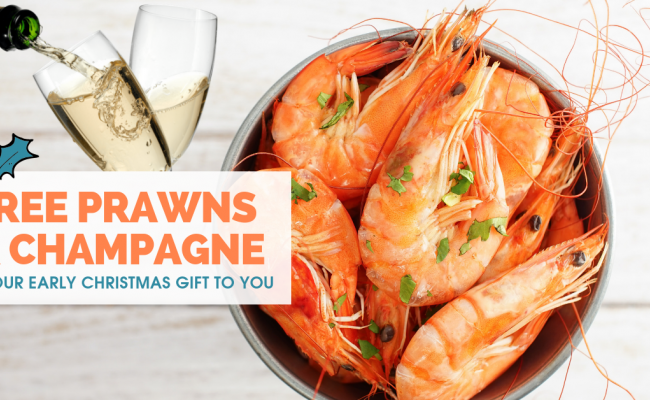 Our Christmas gift to you: Free bucket of prawns and bottle of local bubbles